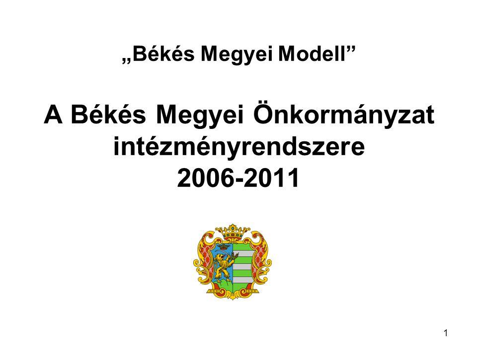 """""""Békés Megyei Modell A Békés Megyei Önkormányzat intézményrendszere 2006-2011 1"""