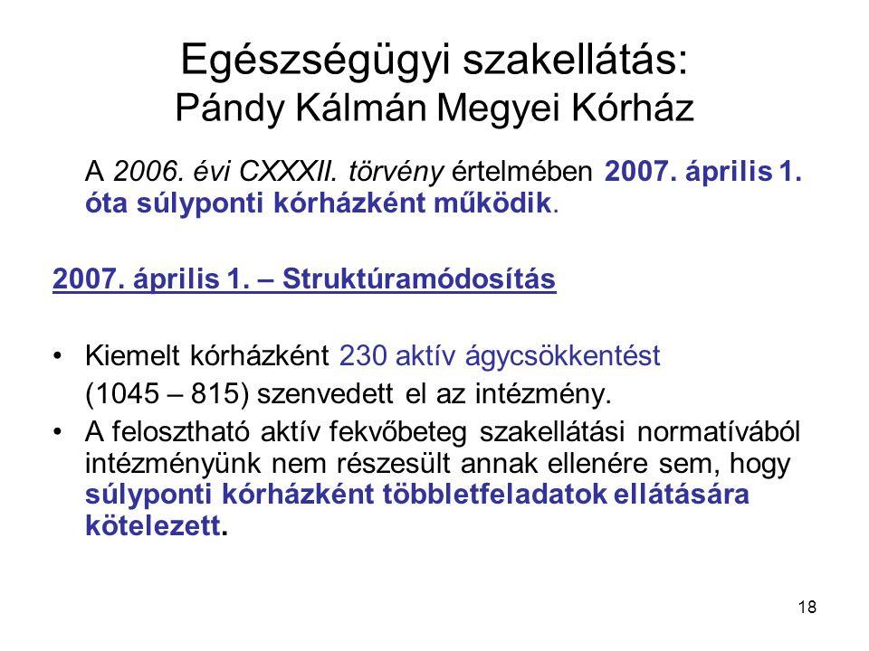 Egészségügyi szakellátás: Pándy Kálmán Megyei Kórház A 2006.