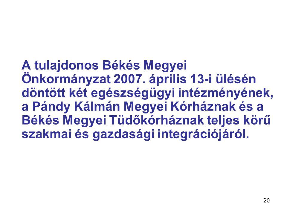 A tulajdonos Békés Megyei Önkormányzat 2007.