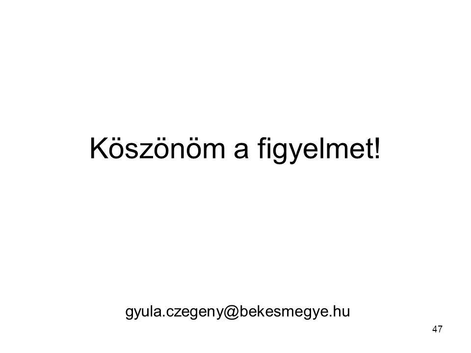 Köszönöm a figyelmet! 47 gyula.czegeny@bekesmegye.hu