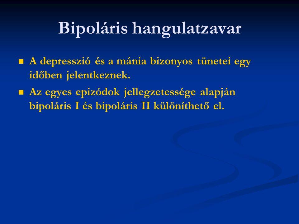   A depresszió és a mánia bizonyos tünetei egy időben jelentkeznek.   Az egyes epizódok jellegzetessége alapján bipoláris I és bipoláris II különí