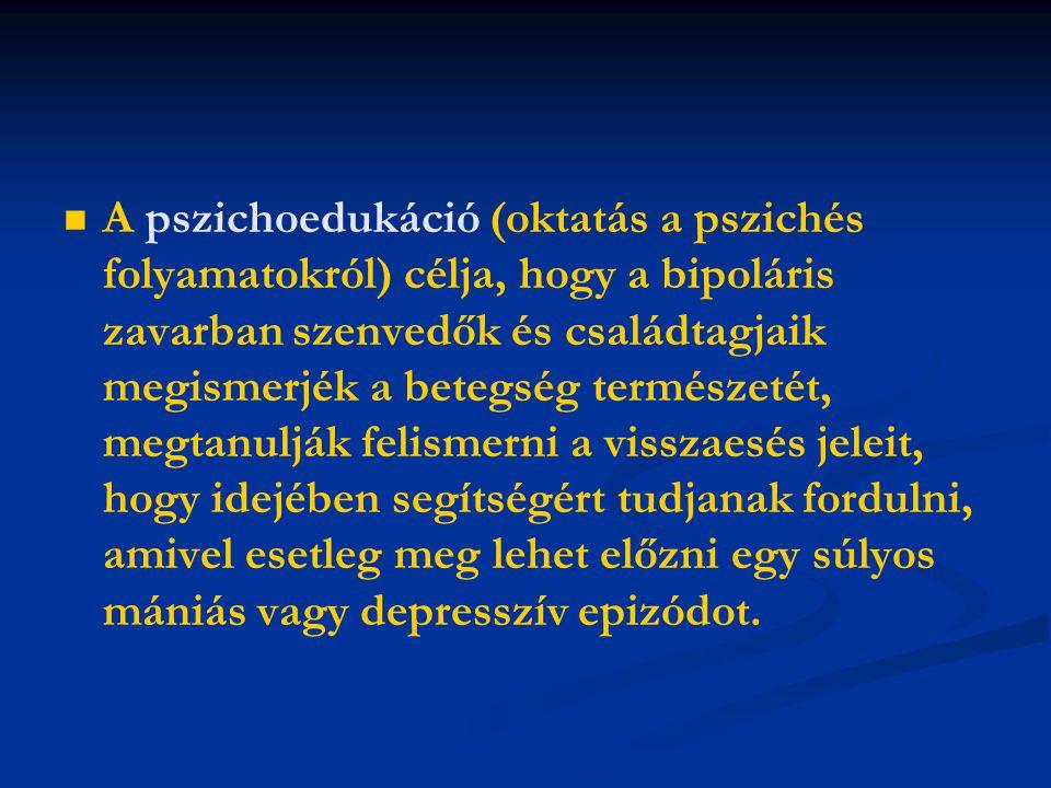   A pszichoedukáció (oktatás a pszichés folyamatokról) célja, hogy a bipoláris zavarban szenvedők és családtagjaik megismerjék a betegség természeté