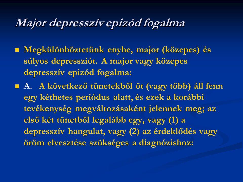   Megkülönböztetünk enyhe, major (közepes) és súlyos depressziót. A major vagy közepes depresszív epizód fogalma:   A.A következő tünetekből öt (v