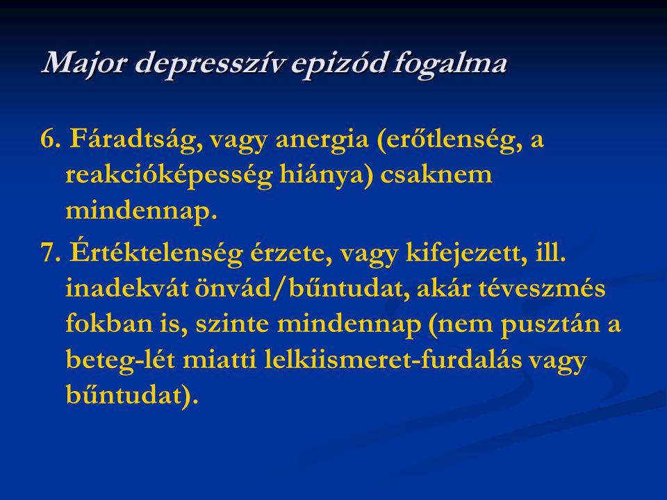 6. Fáradtság, vagy anergia (erőtlenség, a reakcióképesség hiánya) csaknem mindennap. 7. Értéktelenség érzete, vagy kifejezett, ill. inadekvát önvád/bű