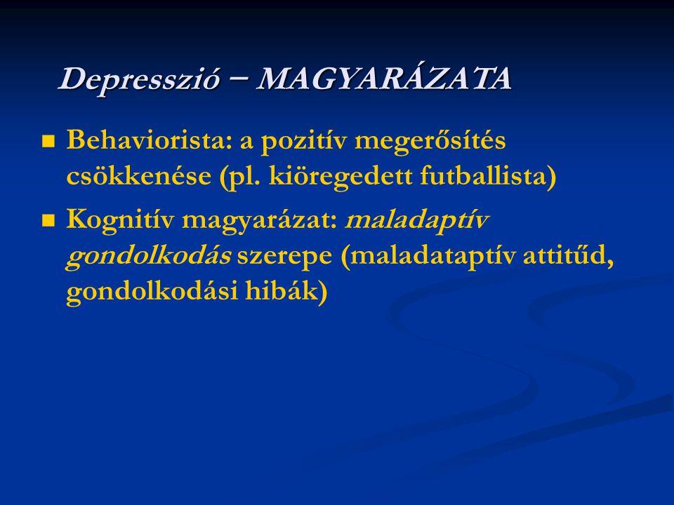   Behaviorista: a pozitív megerősítés csökkenése (pl. kiöregedett futballista)   Kognitív magyarázat: maladaptív gondolkodás szerepe (maladataptív