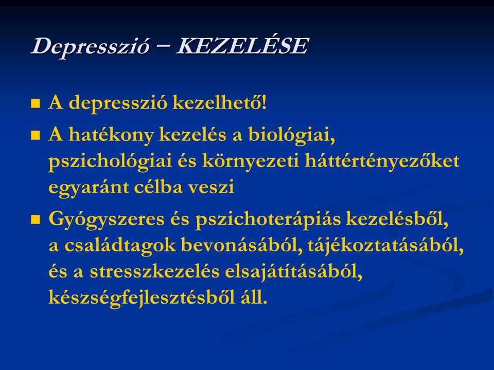   A depresszió kezelhető!   A hatékony kezelés a biológiai, pszichológiai és környezeti háttértényezőket egyaránt célba veszi   Gyógyszeres és p