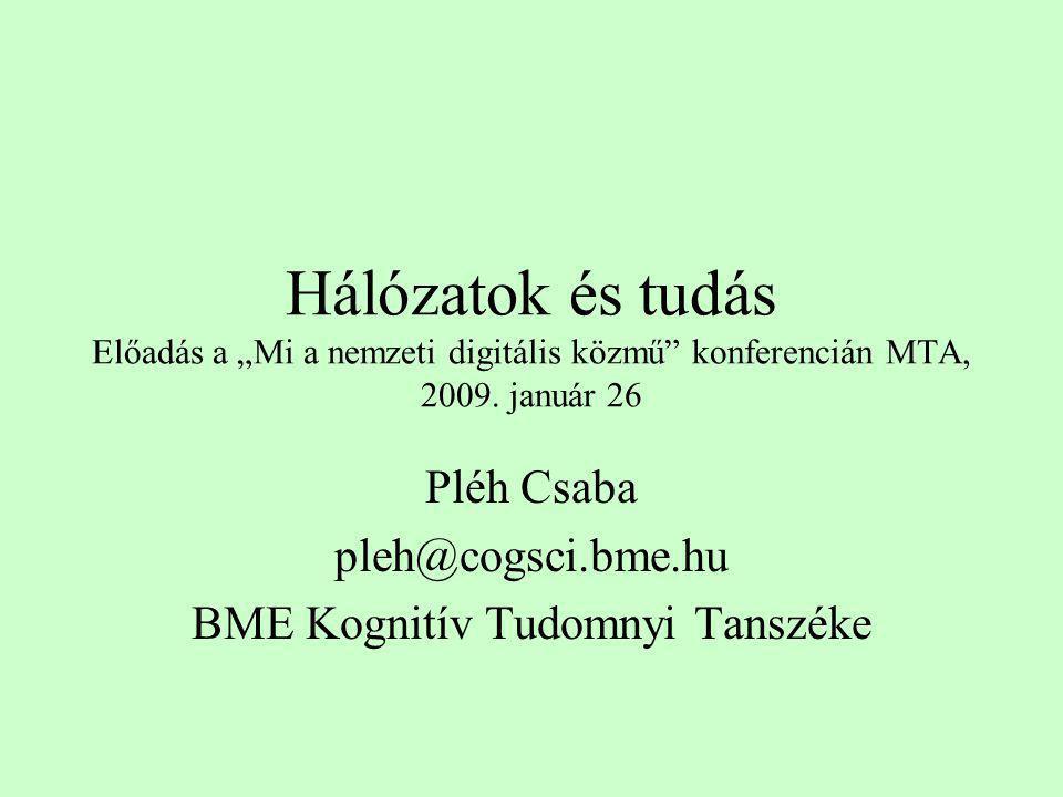"""Hálózatok és tudás Előadás a """"Mi a nemzeti digitális közmű"""" konferencián MTA, 2009. január 26 Pléh Csaba pleh@cogsci.bme.hu BME Kognitív Tudomnyi Tans"""