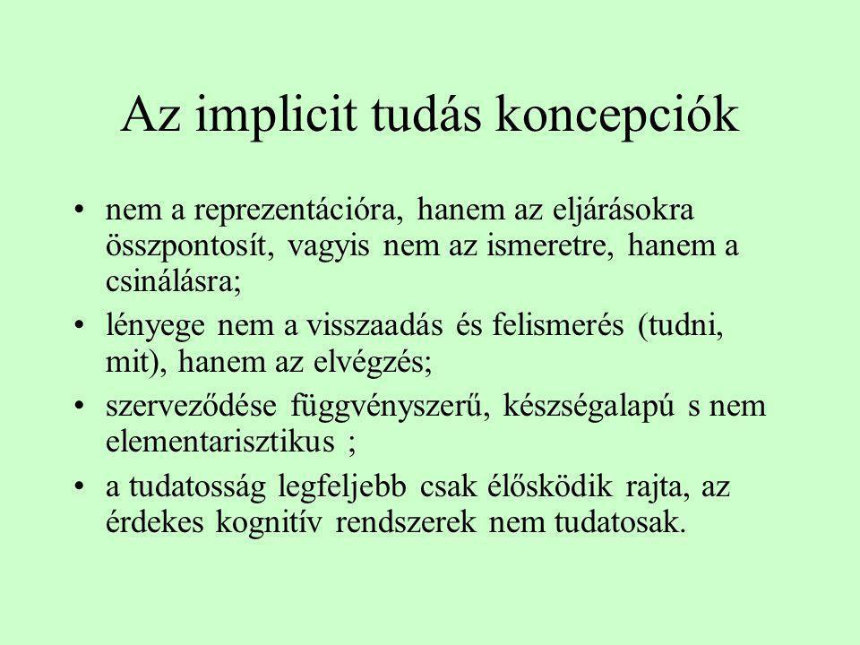 Az implicit tudás koncepciók •nem a reprezentációra, hanem az eljárásokra összpontosít, vagyis nem az ismeretre, hanem a csinálásra; •lényege nem a vi