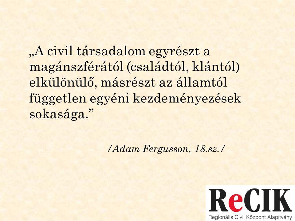 """""""A civil társadalom egyrészt a magánszférától (családtól, klántól) elkülönülő, másrészt az államtól független egyéni kezdeményezések sokasága."""" /Adam"""