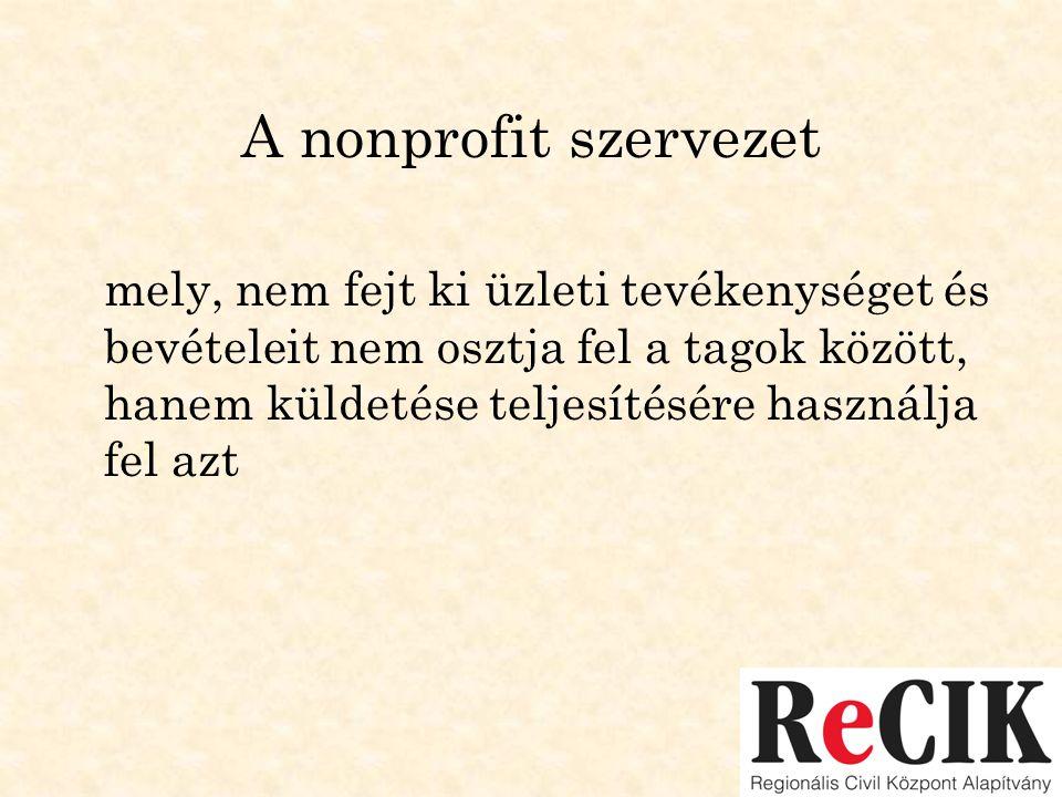 A nonprofit szervezet mely, nem fejt ki üzleti tevékenységet és bevételeit nem osztja fel a tagok között, hanem küldetése teljesítésére használja fel