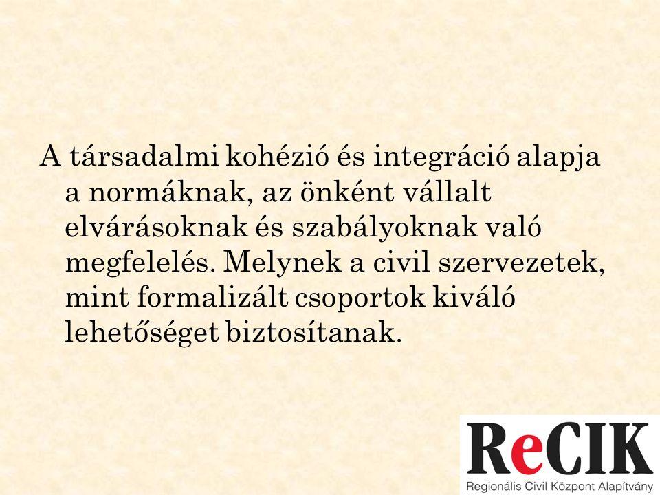 A társadalmi kohézió és integráció alapja a normáknak, az önként vállalt elvárásoknak és szabályoknak való megfelelés. Melynek a civil szervezetek, mi