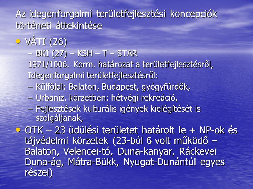 Az idegenforgalmi területfejlesztési koncepciók történeti áttekintése • VÁTI (26) –BKI (27) – KSH – T – STAR 1971/1006. Korm. határozat a területfejle
