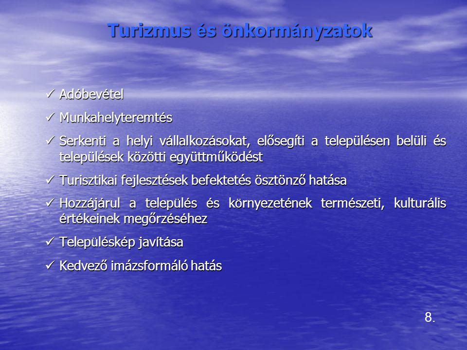 Az idegenforgalmi területfejlesztési koncepciók történeti áttekintése –Javasolta: • További 10 körzet fejlesztését a már kiemelt Balaton, Mátra-Bükk, Duna-kanyar, Velencei-tó mellett (Ny-Dunántúl, Hortobágy, Mecsek-Villány, Alsó-Tisza, Ráckevei régió), • Az 1980-as években a finanszírozás oldáról 3 üdülőterület-típus jellemző: –Kiemelt üdülőkörzetek, –Regionális jelentőségű üdülőterületek, –Helyi és kistérségi jelentőségű üdülőterületek.