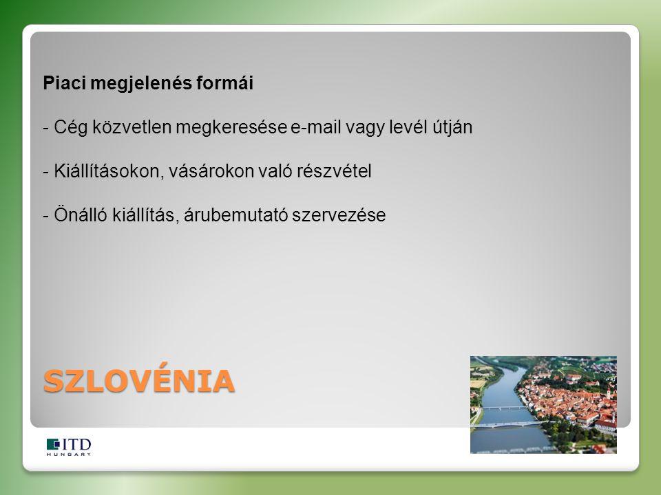 SZLOVÉNIA Piaci megjelenés formái - Cég közvetlen megkeresése e-mail vagy levél útján - Kiállításokon, vásárokon való részvétel - Önálló kiállítás, ár