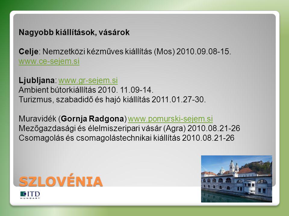 SZLOVÉNIA Nagyobb kiállítások, vásárok Celje: Nemzetközi kézműves kiállítás (Mos) 2010.09.08-15. www.ce-sejem.si Ljubljana: www.gr-sejem.si Ambient bú