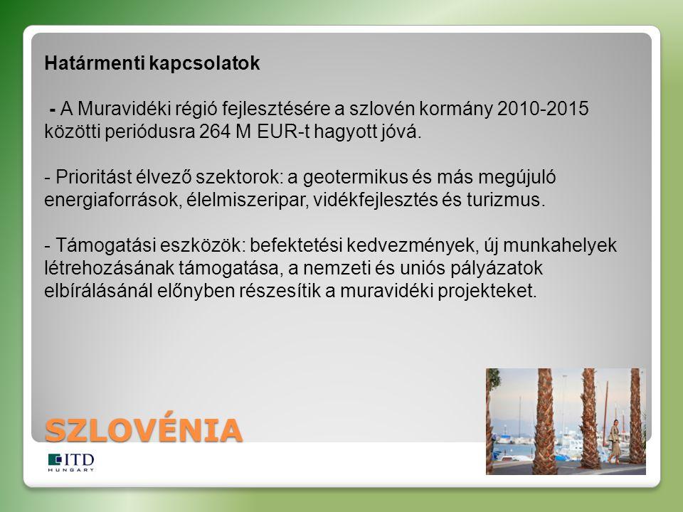 SZLOVÉNIA Határmenti kapcsolatok - A Muravidéki régió fejlesztésére a szlovén kormány 2010-2015 közötti periódusra 264 M EUR-t hagyott jóvá. - Priorit