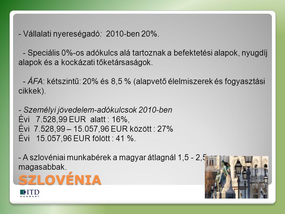 SZLOVÉNIA - Vállalati nyereségadó: 2010-ben 20%. - Speciális 0%-os adókulcs alá tartoznak a befektetési alapok, nyugdíj alapok és a kockázati tőketárs