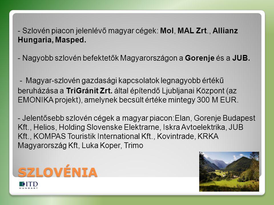 SZLOVÉNIA - Szlovén piacon jelenlévő magyar cégek: Mol, MAL Zrt., Allianz Hungaria, Masped. - Nagyobb szlovén befektetők Magyarországon a Gorenje és a