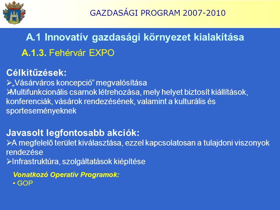 """GAZDASÁGI PROGRAM 2007-2010 A.1 Innovatív gazdasági környezet kialakítása A.1.3. Fehérvár EXPO Célkitűzések:  """"Vásárváros koncepció"""" megvalósítása """