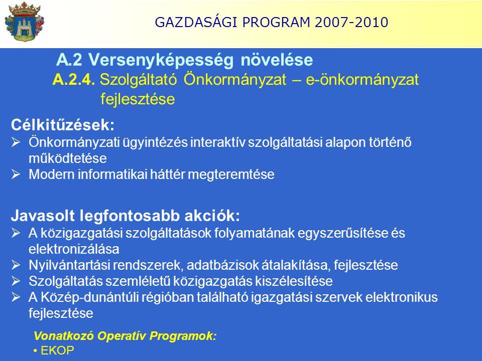GAZDASÁGI PROGRAM 2007-2010 A.2 Versenyképesség növelése A.2.4. Szolgáltató Önkormányzat – e-önkormányzat fejlesztése Célkitűzések:  Önkormányzati üg