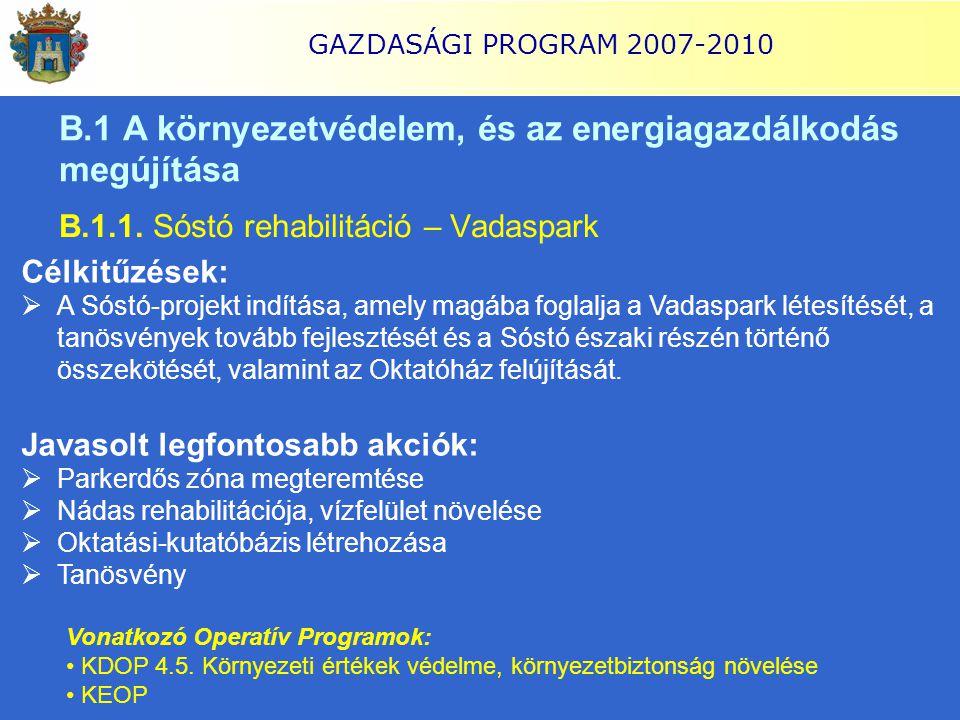 GAZDASÁGI PROGRAM 2007-2010 B.1 A környezetvédelem, és az energiagazdálkodás megújítása B.1.1. Sóstó rehabilitáció – Vadaspark Célkitűzések:  A Sóstó