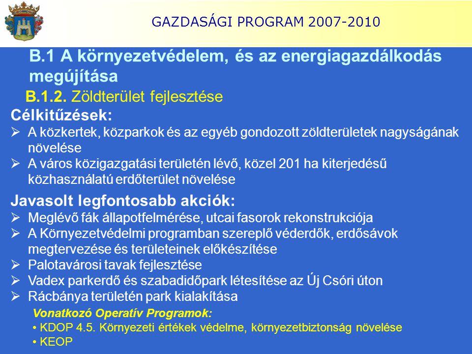 GAZDASÁGI PROGRAM 2007-2010 B.1 A környezetvédelem, és az energiagazdálkodás megújítása B.1.2. Zöldterület fejlesztése Célkitűzések:  A közkertek, kö
