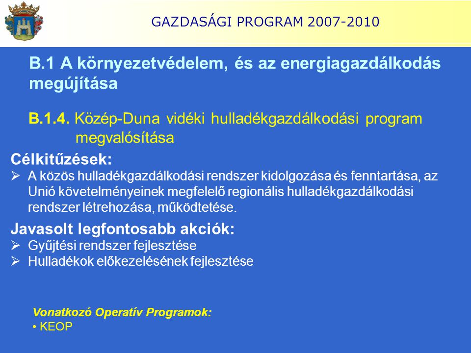 GAZDASÁGI PROGRAM 2007-2010 B.1 A környezetvédelem, és az energiagazdálkodás megújítása B.1.4. Közép-Duna vidéki hulladékgazdálkodási program megvalós
