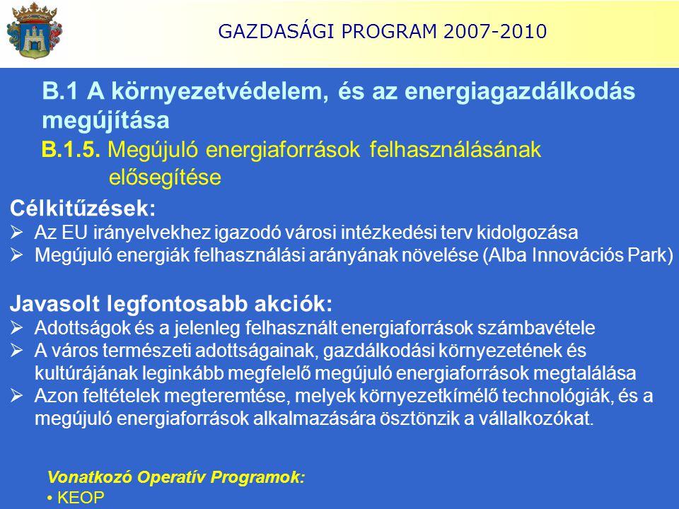 GAZDASÁGI PROGRAM 2007-2010 B.1 A környezetvédelem, és az energiagazdálkodás megújítása B.1.5. Megújuló energiaforrások felhasználásának elősegítése C
