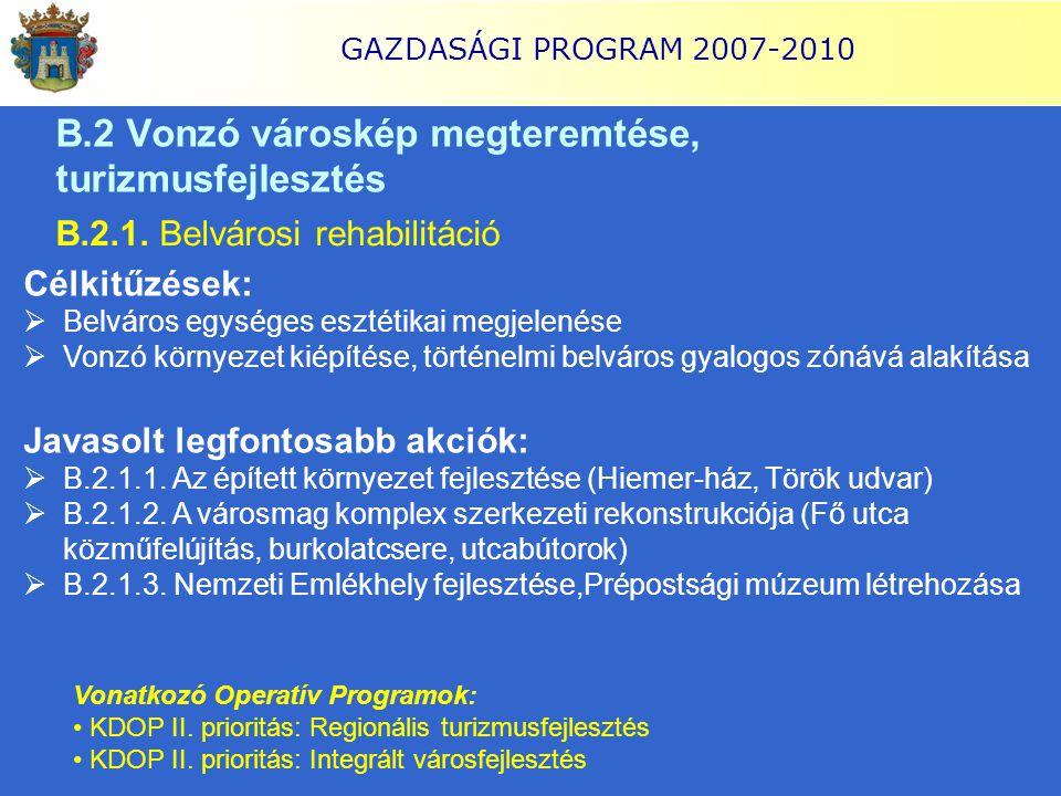 GAZDASÁGI PROGRAM 2007-2010 B.2 Vonzó városkép megteremtése, turizmusfejlesztés B.2.1. Belvárosi rehabilitáció Célkitűzések:  Belváros egységes eszté