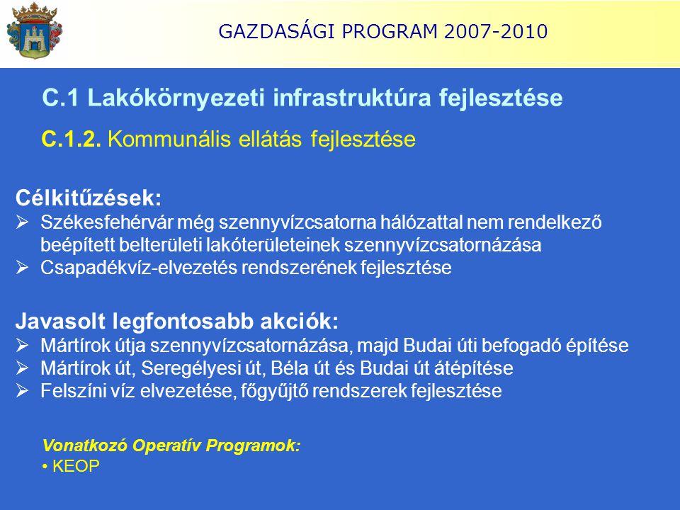 GAZDASÁGI PROGRAM 2007-2010 C.1 Lakókörnyezeti infrastruktúra fejlesztése C.1.2. Kommunális ellátás fejlesztése Célkitűzések:  Székesfehérvár még sze