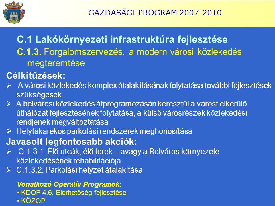 GAZDASÁGI PROGRAM 2007-2010 C.1 Lakókörnyezeti infrastruktúra fejlesztése C.1.3. Forgalomszervezés, a modern városi közlekedés megteremtése Célkitűzés