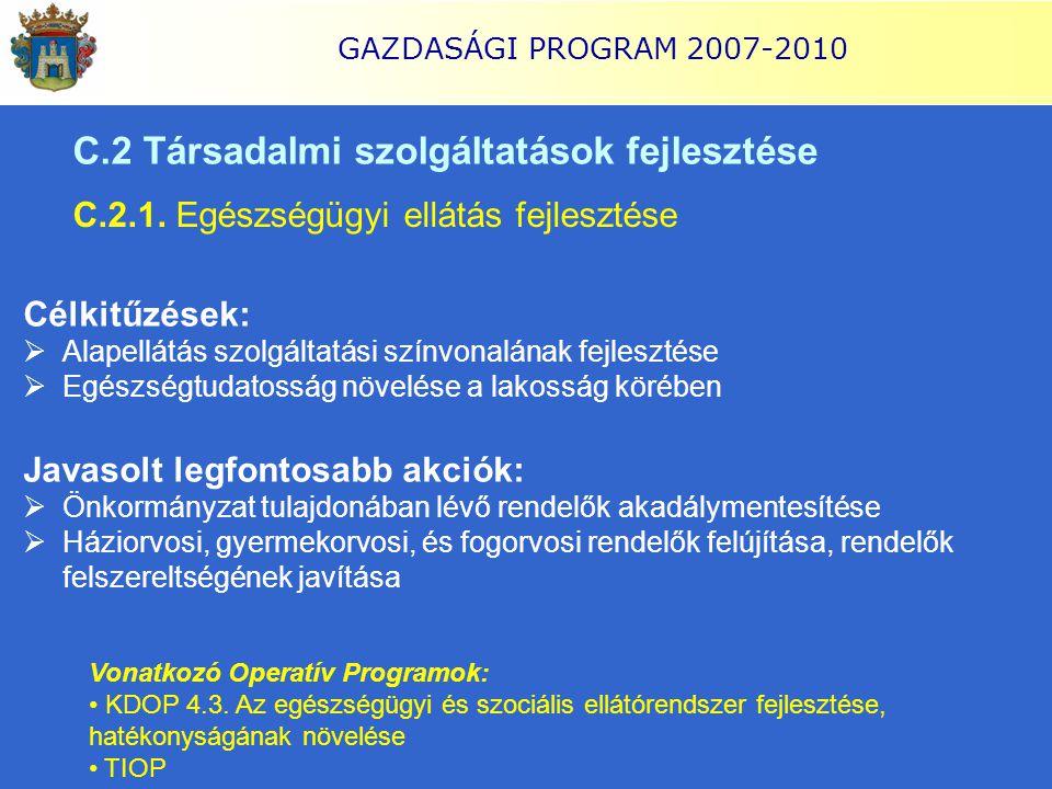 GAZDASÁGI PROGRAM 2007-2010 C.2 Társadalmi szolgáltatások fejlesztése C.2.1. Egészségügyi ellátás fejlesztése Célkitűzések:  Alapellátás szolgáltatás
