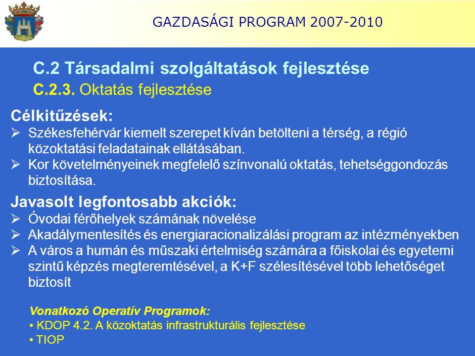 GAZDASÁGI PROGRAM 2007-2010 C.2 Társadalmi szolgáltatások fejlesztése C.2.3. Oktatás fejlesztése Célkitűzések:  Székesfehérvár kiemelt szerepet kíván