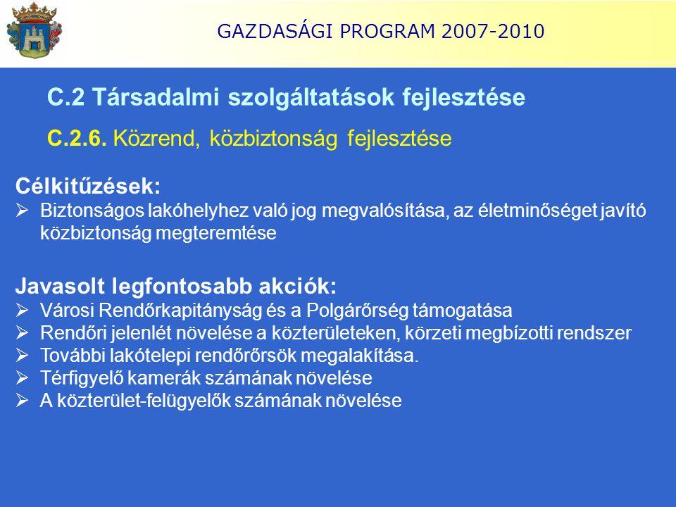 GAZDASÁGI PROGRAM 2007-2010 C.2 Társadalmi szolgáltatások fejlesztése C.2.6. Közrend, közbiztonság fejlesztése Célkitűzések:  Biztonságos lakóhelyhez