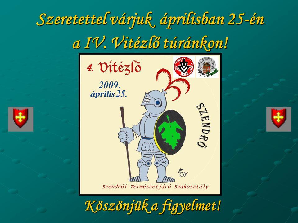 Köszönjük a figyelmet! Szeretettel várjuk áprilisban 25-én a IV. Vitézlő túránkon!
