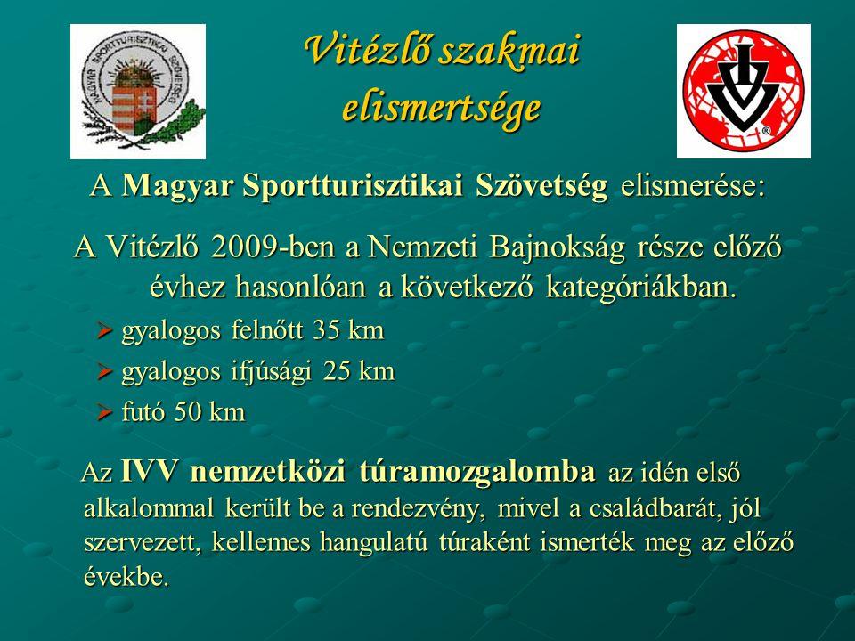 Vitézlő szakmai elismertsége A Magyar Sportturisztikai Szövetség elismerése: A Vitézlő 2009-ben a Nemzeti Bajnokság része előző évhez hasonlóan a köve