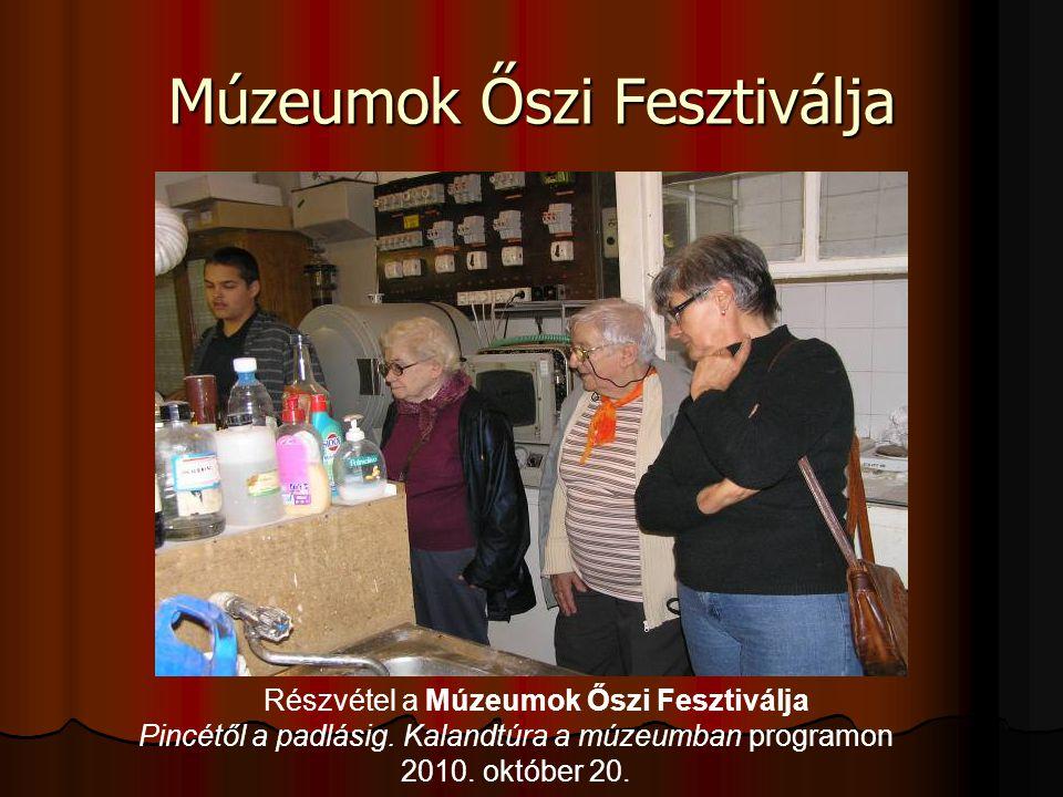 Múzeumok Őszi Fesztiválja Részvétel a Múzeumok Őszi Fesztiválja Pincétől a padlásig. Kalandtúra a múzeumban programon 2010. október 20.