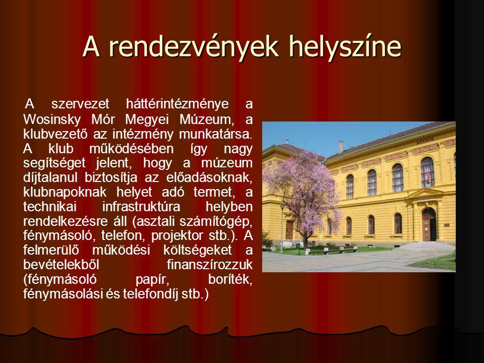 A rendezvények helyszíne A szervezet háttérintézménye a Wosinsky Mór Megyei Múzeum, a klubvezető az intézmény munkatársa. A klub működésében így nagy