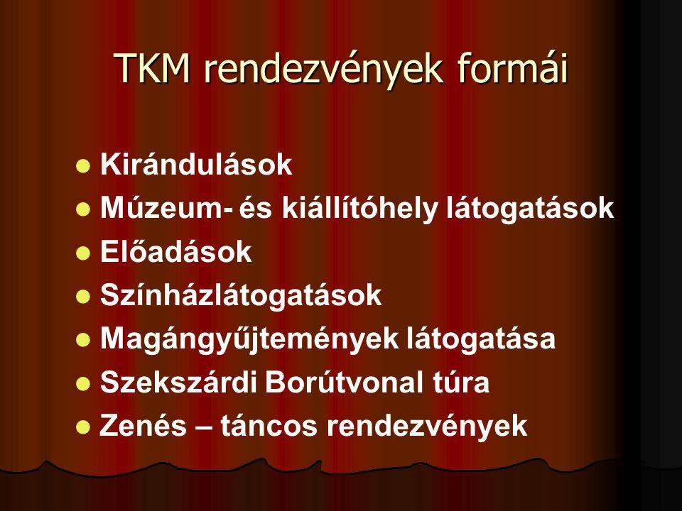 TKM rendezvények formái   Kirándulások   Múzeum- és kiállítóhely látogatások   Előadások   Színházlátogatások   Magángyűjtemények látogatása