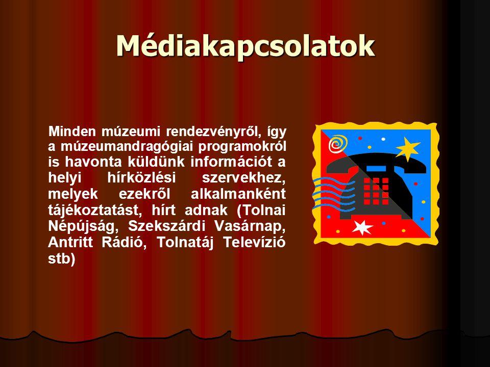 Médiakapcsolatok Minden múzeumi rendezvényről, így a múzeumandragógiai programokról is havonta küldünk információt a helyi hírközlési szervekhez, mely