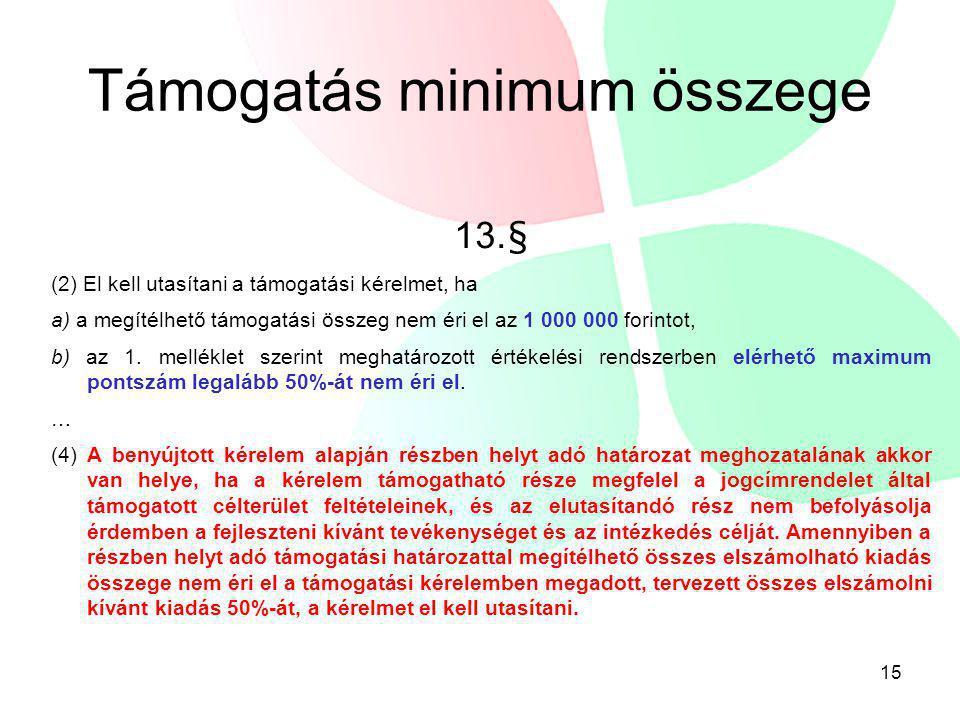 Támogatás minimum összege 13.§ (2) El kell utasítani a támogatási kérelmet, ha a) a megítélhető támogatási összeg nem éri el az 1 000 000 forintot, b)