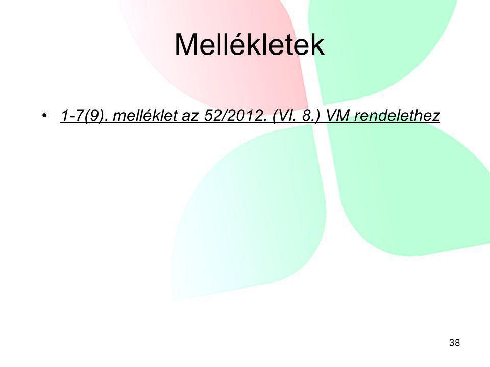 Mellékletek •1-7(9). melléklet az 52/2012. (VI. 8.) VM rendelethez 38