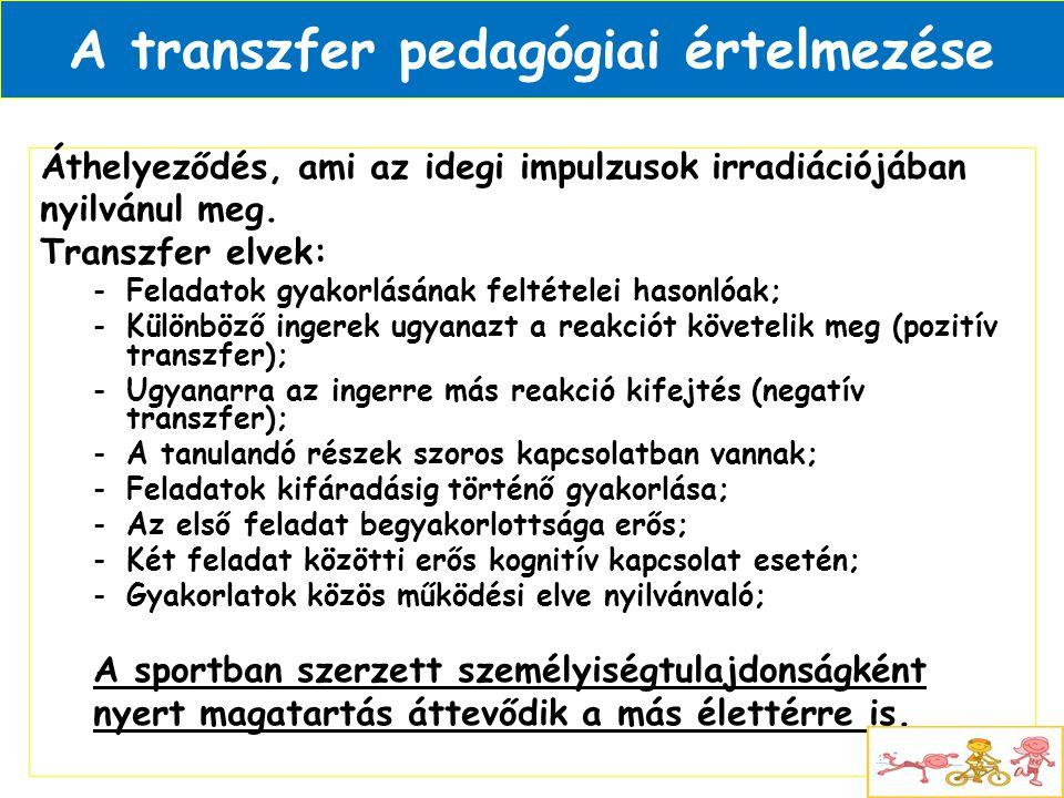 A transzfer pedagógiai értelmezése Áthelyeződés, ami az idegi impulzusok irradiációjában nyilvánul meg. Transzfer elvek: -Feladatok gyakorlásának felt
