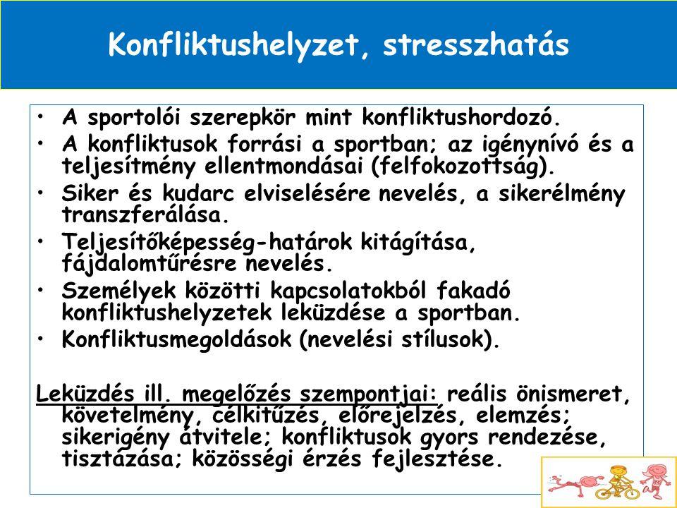 Konfliktushelyzet, stresszhatás •A sportolói szerepkör mint konfliktushordozó. •A konfliktusok forrási a sportban; az igénynívó és a teljesítmény elle