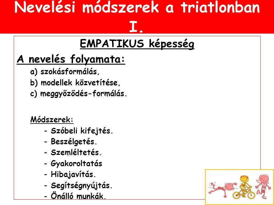 Nevelési módszerek a triatlonban I. EMPATIKUS képesség A nevelés folyamata: a) szokásformálás, b) modellek közvetítése, c) meggyőződés-formálás. Módsz