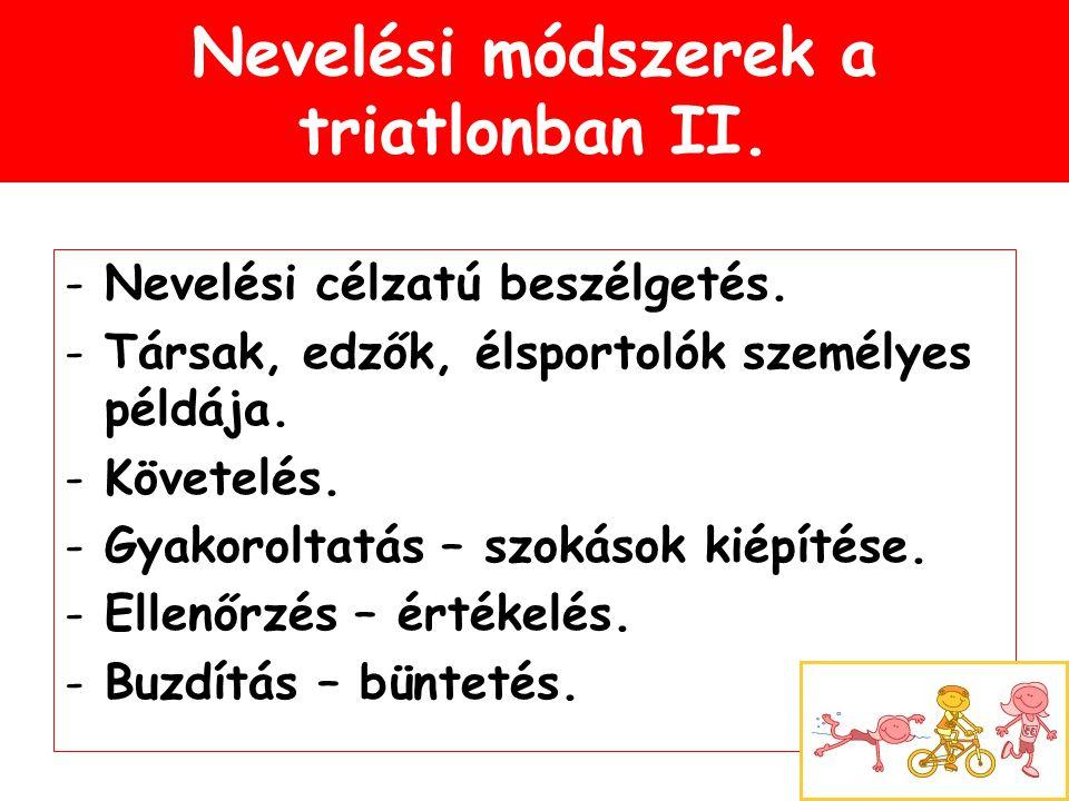Nevelési módszerek a triatlonban II. -Nevelési célzatú beszélgetés. -Társak, edzők, élsportolók személyes példája. -Követelés. -Gyakoroltatás – szokás