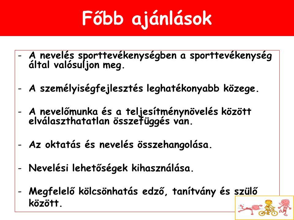 Főbb ajánlások -A nevelés sporttevékenységben a sporttevékenység által valósuljon meg. -A személyiségfejlesztés leghatékonyabb közege. -A nevelőmunka