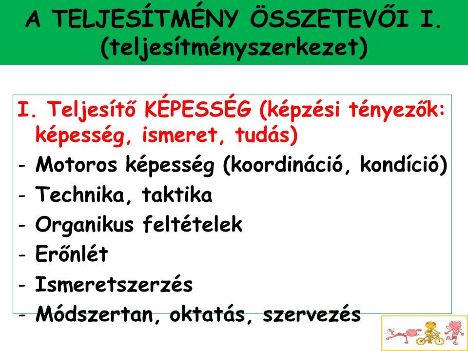 A TELJESÍTMÉNY ÖSSZETEVŐI I. (teljesítményszerkezet) I. Teljesítő KÉPESSÉG (képzési tényezők: képesség, ismeret, tudás) -Motoros képesség (koordináció