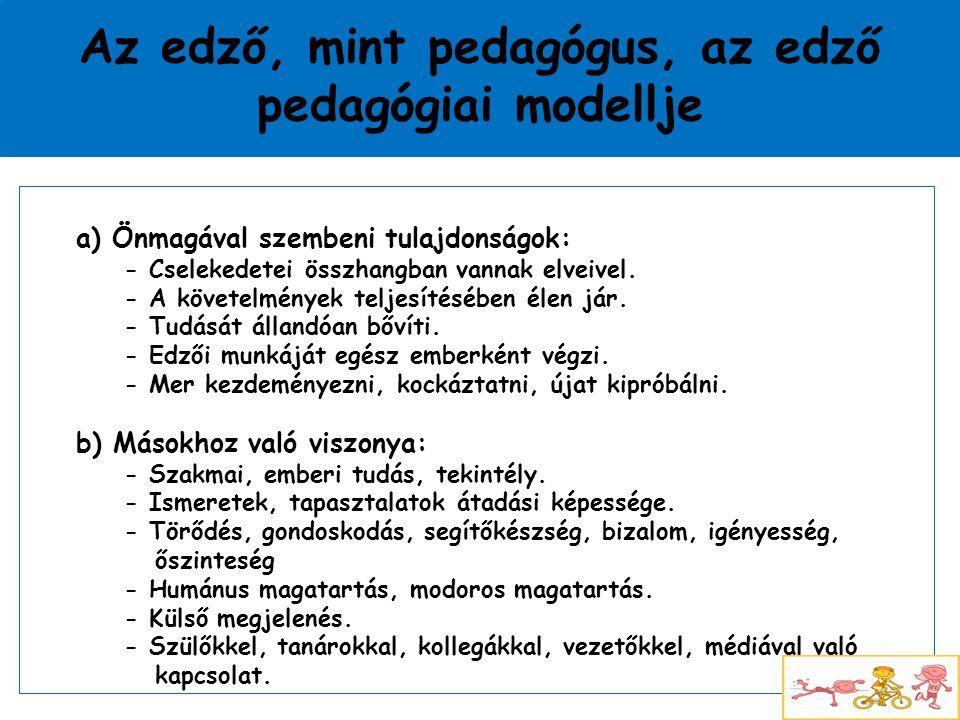 Az edző, mint pedagógus, az edző pedagógiai modellje a) Önmagával szembeni tulajdonságok: - Cselekedetei összhangban vannak elveivel. - A követelménye