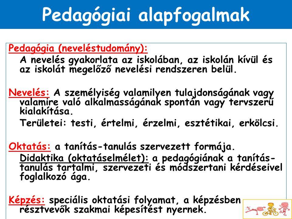 Pedagógiai alapfogalmak Pedagógia (neveléstudomány): A nevelés gyakorlata az iskolában, az iskolán kívül és az iskolát megelőző nevelési rendszeren be
